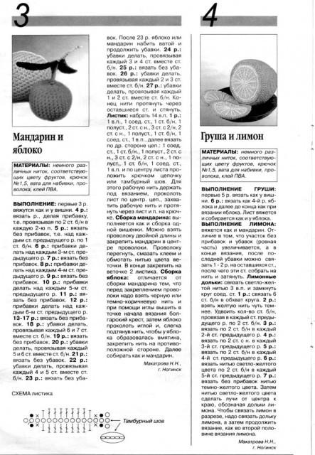 mandarin, yabloko, grusha