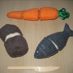 Самодельная еда для разрезания (с липучками): картофель, морковка ирыба