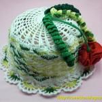Панамка с цветком-помпоном на 1,5-2года