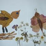 Птичка и бабочка на цветочномлугу