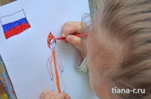 День города Балашиха. 6 сентября 2014. Настя рисует поздравление городу