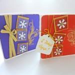 Новогодние открытки-сестренки со снежинками на объемныхподложках