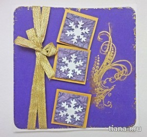 Новогодние открытки-сестренки со снежинками на объемных подложках
