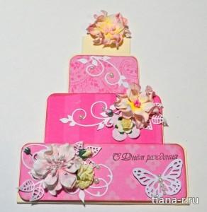 """Открытка ко Дню рождения для девочки """"Тортик"""""""
